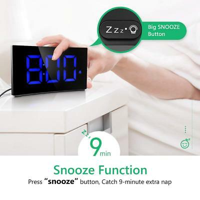 Digital Alarm Clock w/5'' Dimmable LED Curved Screen Snooze Function Xmas Gifts
