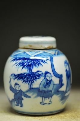 Unique Chinese Blue And White Porcelain Handwork People Pot