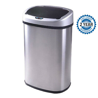 13-Gallon Touch Free Sensor Automatic Touchless Stainless-Steel Trash Can New