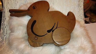 Beautiful Vintage/antique Wooden Pull-A-Long Duck - Beak Moves As It Is Pulled