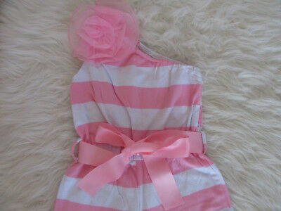 Blossom Couture Pink White Striped Jumpsuit Girls Size 5 6