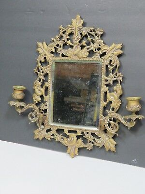 Antique 19C Gilt Bronze Beveled Mirror Double Candle Sconce Dolphin Fish Serpent