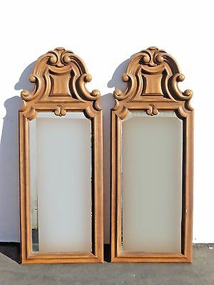 Pair Vintage French Provincial Wall Mantle MIRRORS w Scrolls and Flourishes
