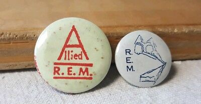 Vintage REM Buttons Pin Back Lot of 2 Allied 1980s 1990s