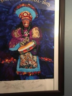 2015 Artis Proof Jazz Fest Poster Signed By Artis Frenchy And Mardi Gras Indian