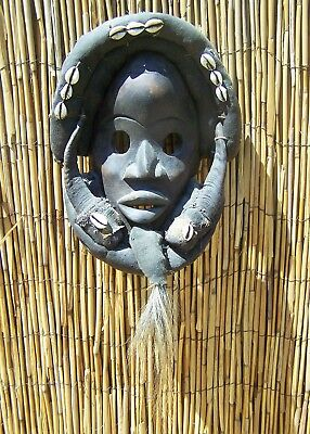 """African Art Dan Mask With Horns From Liberia 19"""" Tall"""