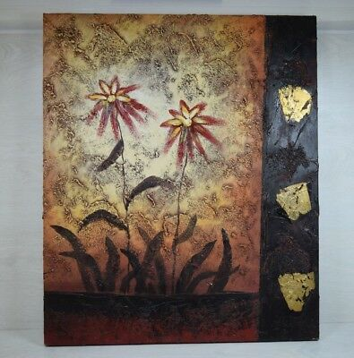 Vintage Oil Painting Abstract Flowers Garden on Canvas Hand Painted Art Deco