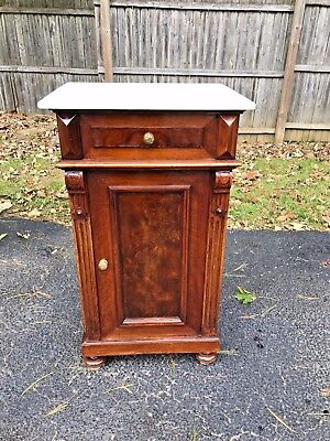 Antique French Louis XVI Burl Walnut Marble top Nightstand Excellent condition