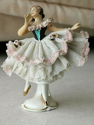 Antique German Dresden porcelain figurine girl dancing