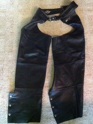 Harley Davidson Women's Size LARGE Black Heavy Leather Chaps for Zipper Repair