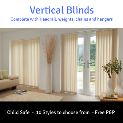 White or Cream Vertical Blinds & Headrail -  Complete kit - Made to measure