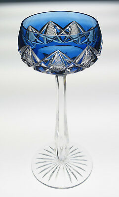 Quality Vintage Blue Cut To Clear Rhine Hock Wine Glass Air Trap Val St Lambert