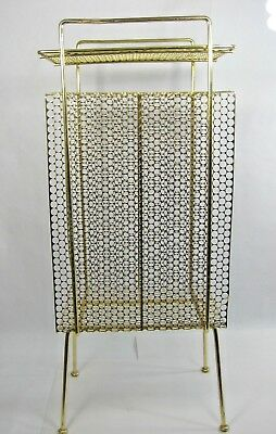 VINTAGE Mid Century Modern MCM Brass Gold Color Record/Magazine RACK Stand