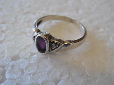 Vintage Purple & Clear Stone 925 Sterling Silver Signet Style Ring Size 6.25