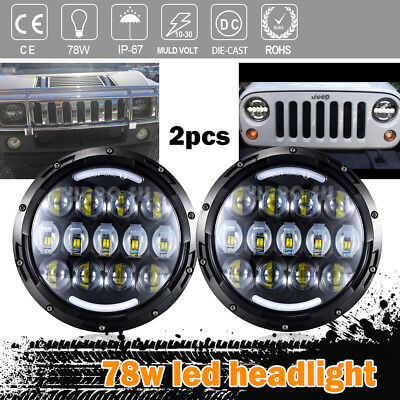 Black Housing Projector Headlights Low/High Beam for Land Rover Defender