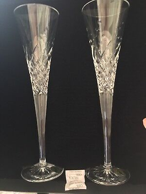 WATERFORD CRYSTAL Happy Celebration, Wishes T/ PAIR OF CHAMPAGNE TOASTING FLUTES