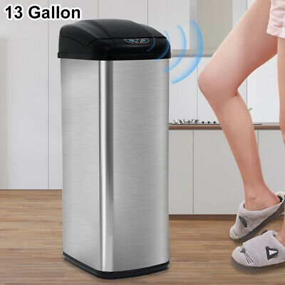 13 Gallon Touch-Free Sensor Automatic Stainless-Steel Trash Can Kitchen Office