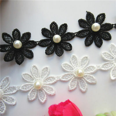 15X Vintage Flower Pearl Lace Edge Trim Wedding Ribbon Applique DIY Sewing Craft