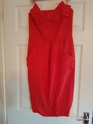 Brand New River Island Red Bow Cocktail/Party Dress Size 10 Brand New Without...