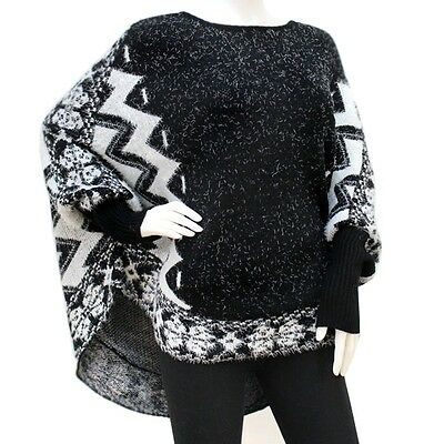 Aztec Sweater Poncho with Sleeves