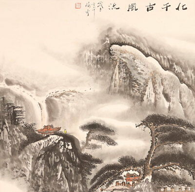 CHINESE PAINTING HANGING SCROLL LANDSCAPE CHINA ANTIQUE VINTAGE OLD PICTURE d038