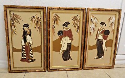 Vintage Original Japanese 3 acrylic hand painted Geisha on canvas RAE signed