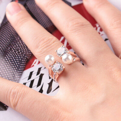 Faux Pearl Shiny Crystal Opening Finger Ring Band for Ladies Womens Gift D