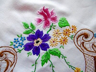 Vintage  Stunning Hand Embroidered Tablecloth, Linen, Floral Trellis 40 x 40 ins