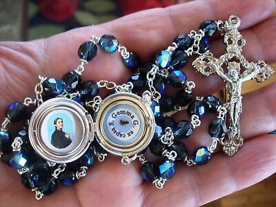 St Gemma Galgani blue RELIC locket rosary with STUNNING special engraved locket!