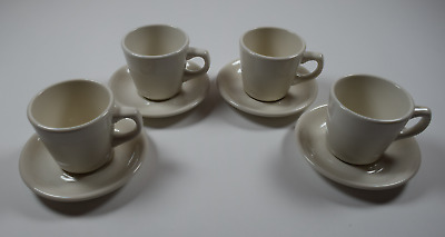 !mint! 4 Buffalo China Restaurant Ware White Demitasse Coffee Cup+Saucer Sets