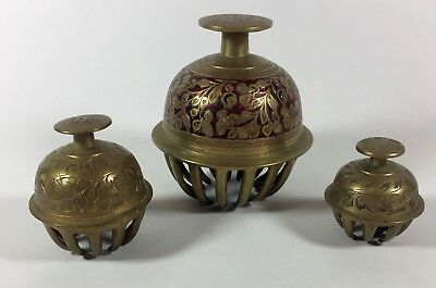 "3 Vintage Antique Solid Brass Tibetan Claw Elephant Temple Bells (2"", 2.5"" & 4"")"