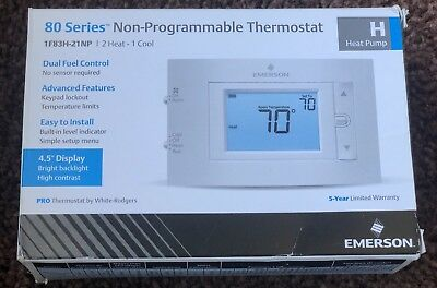Emerson 80 Series Non-Programmable Heat Pump, 4.5 In. Display, 2 Heat / 1 Cool,