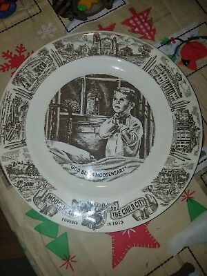 Mooseheart Ohio Brown Plate Child Praying Nine O'clock Ceremony Porcelain Gift