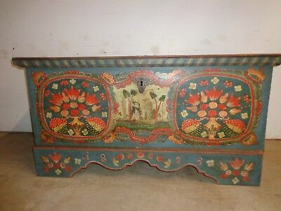 Antique Original Paint Decorated Wedding Coffer Or Dowry Chest Trunk Dated 1825