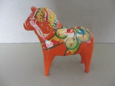 Antique Scandinavian Swedish Nils Olson ? Wooden Hand Painted Dala Horse