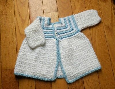 Vintage Infant Sweater hand crocheted baby blue