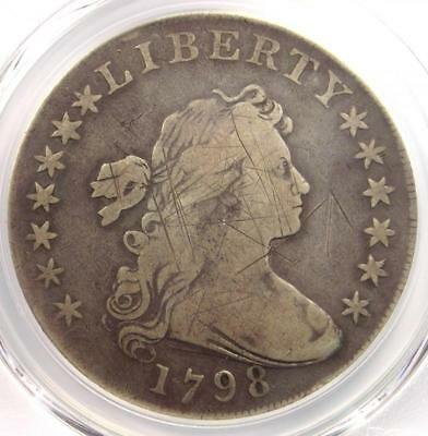 1798 Draped Bust Silver Dollar $1 - Certified PCGS VG Details - Rare Coin!