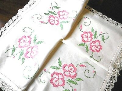 Vintage, Pretty Hand Embroidered Tablecloth, Cross Stitch Irish Linen, lace edge