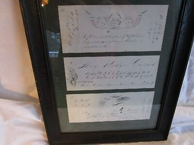 19th C Antique Spencerian Penmanship Drawing Documents 3 in all