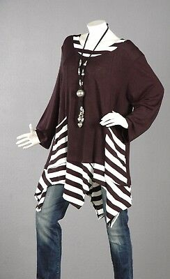 110 Pullover Tunika Longpullover A-Linie Top Bluse Shirt Wolle Lagenlook 58  //3