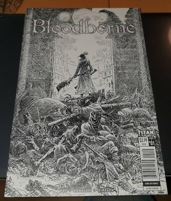 "Bloodborne #1 ""The Death of sleep"" cover A B&W 2nd print, Jeff Stokley NM."