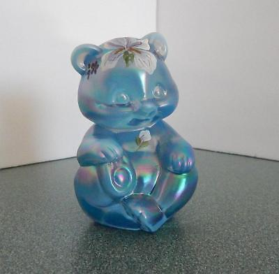 Fenton Bear Hand Painted by P. Hahurst with Sticker USA and Logo Blue iridescent