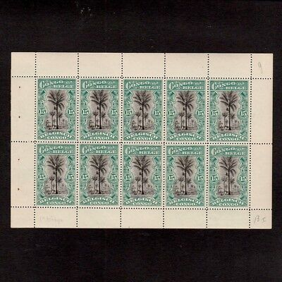 BELGIAN CONGO 1916 BOOKLET PANE OF 10 x FIFTEEN CENTIMES, 1st PRINTING (**)