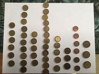 Germany Lot of 50 ~ 1949-1966 -1 - 2 - 5 - 10 Pfennig Coins Mixed Collection