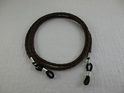 "EXTRA LONG 32""  COFFEE BRAIDED COTTON VEGAN Eyeglass Cord~Holder Adj Ends USA"