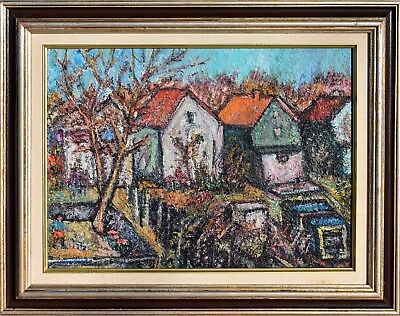 "CARMEN ALFIERI Oil Painting On Canvas ""Backyard Orchard"" signed & framed"