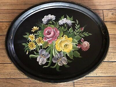 Antique Vintage Large Hand Painted Flowers Floral Oval Metal Tole Tray 24""