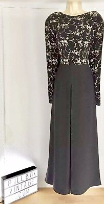 Fabulous 1990s Joseph Ribkoff Black/ Gold patterned bodice Jumpsuit Size 10