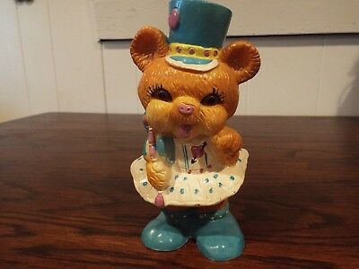 "Vintage 6 1/2"" High Plastic Bear Coin Bank"