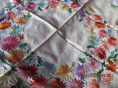 Vintage Hand Embroidered Square Tablecloth ~  Exquisite Jewel Coloured Flowers